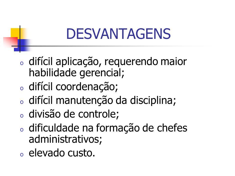 DESVANTAGENS difícil aplicação, requerendo maior habilidade gerencial;