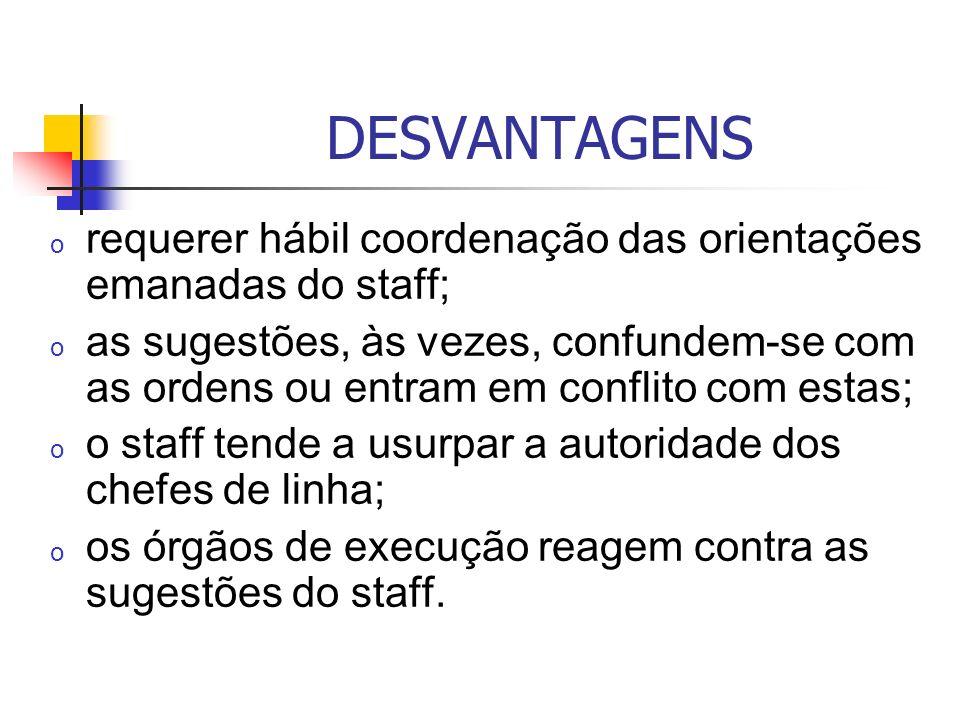 DESVANTAGENS requerer hábil coordenação das orientações emanadas do staff;