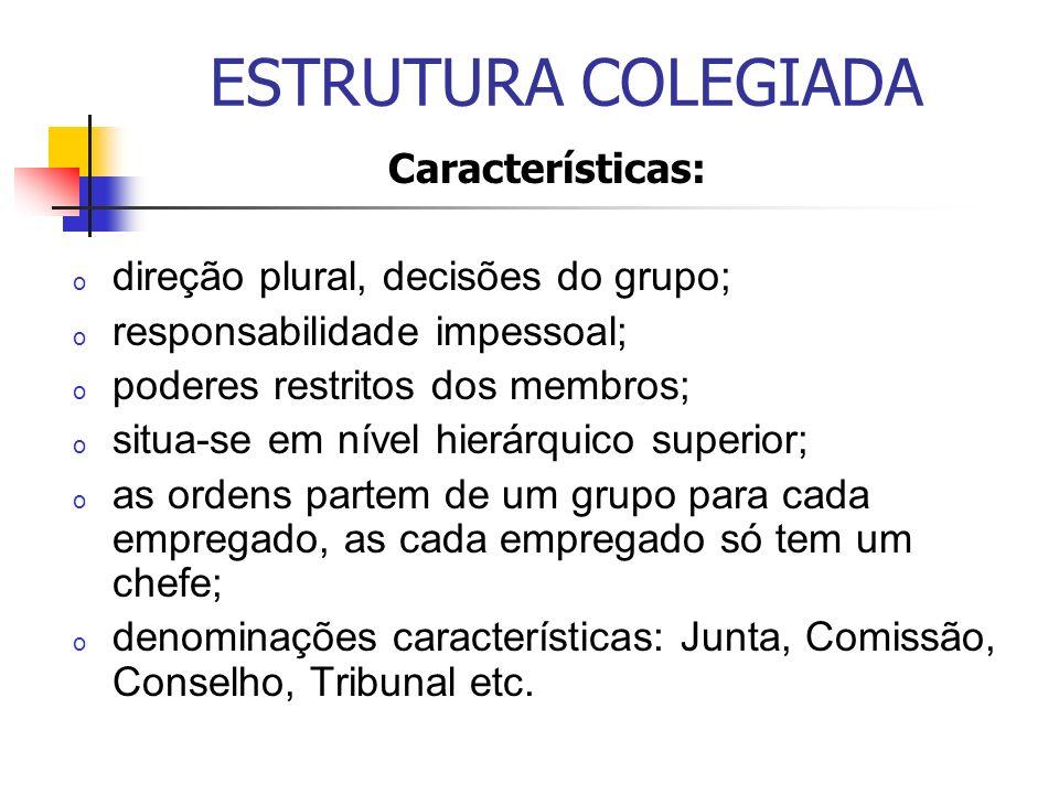 ESTRUTURA COLEGIADA Características: