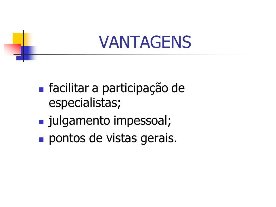 VANTAGENS facilitar a participação de especialistas;