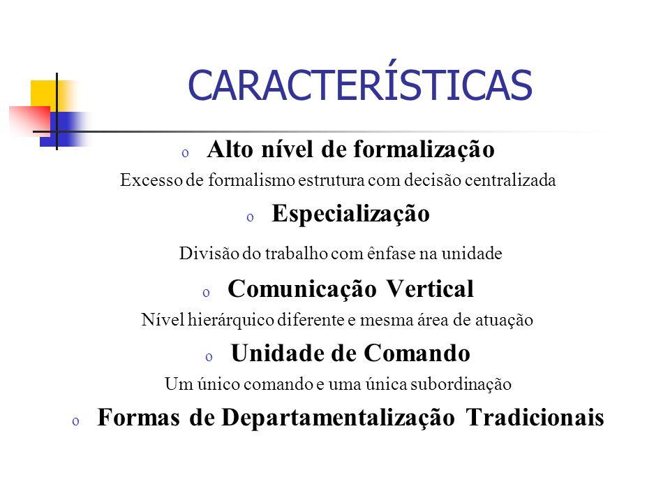 Alto nível de formalização Formas de Departamentalização Tradicionais