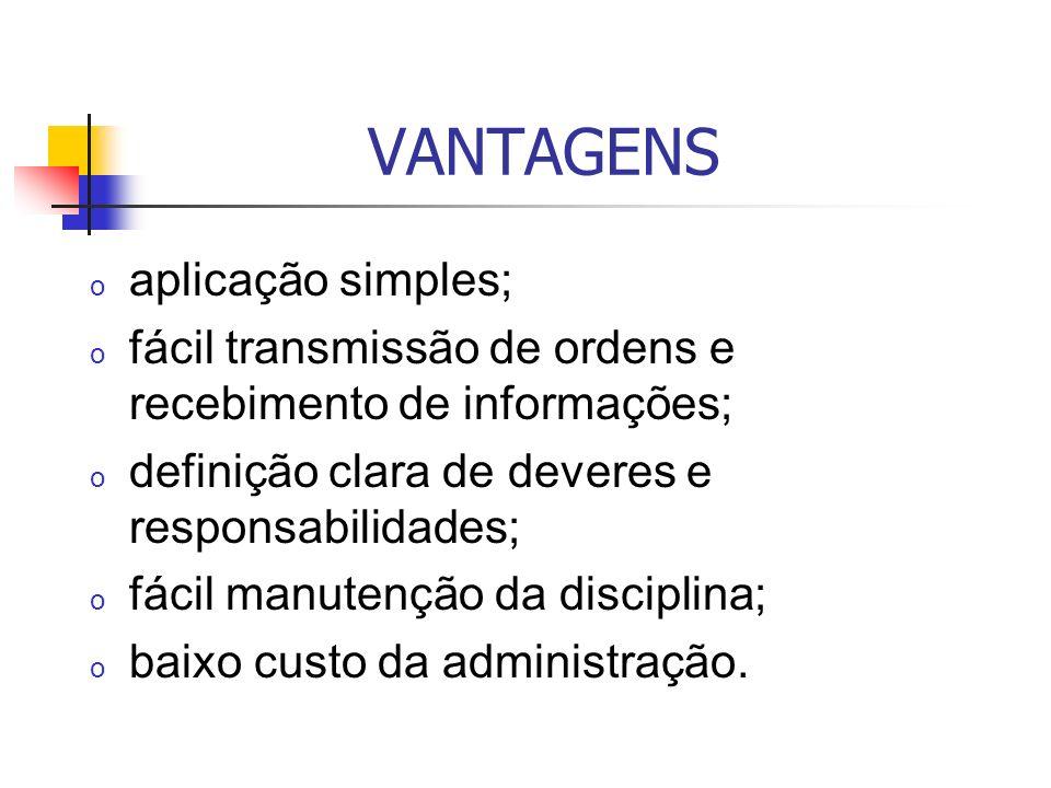 VANTAGENS aplicação simples;