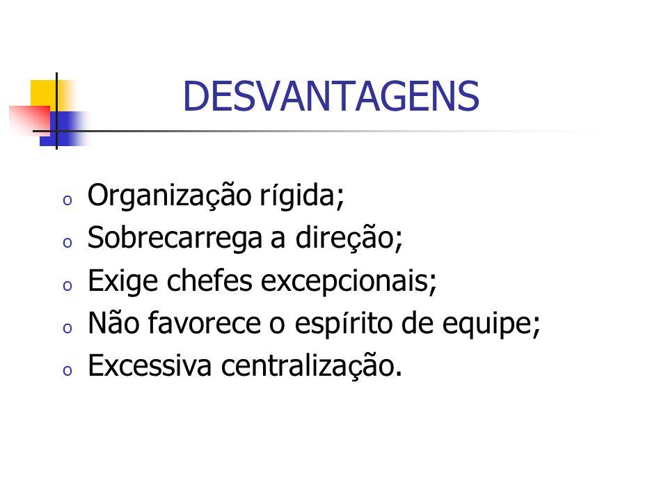 DESVANTAGENS Organização rígida; Sobrecarrega a direção;