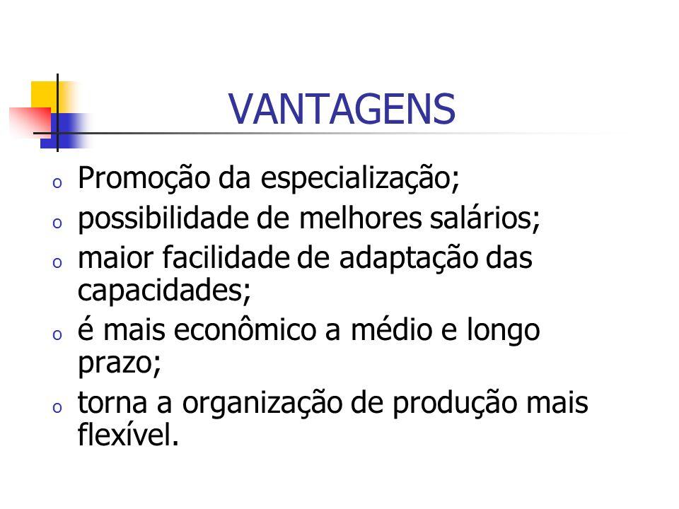 VANTAGENS Promoção da especialização;