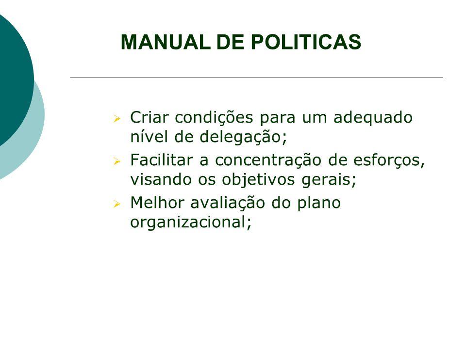 MANUAL DE POLITICAS Criar condições para um adequado nível de delegação; Facilitar a concentração de esforços, visando os objetivos gerais;