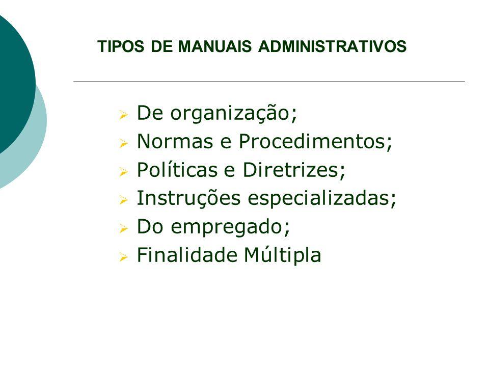 TIPOS DE MANUAIS ADMINISTRATIVOS