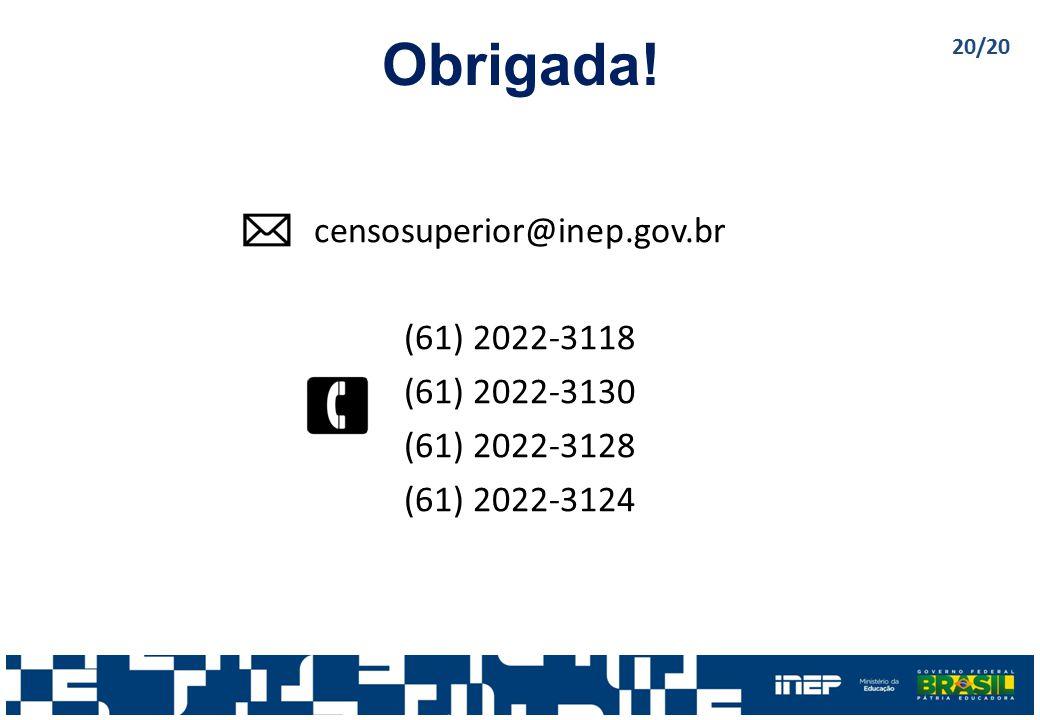 Obrigada! censosuperior@inep.gov.br (61) 2022-3118 (61) 2022-3130