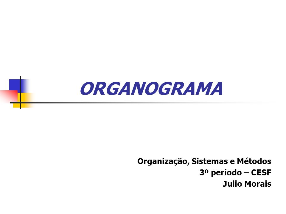 Organização, Sistemas e Métodos 3º período – CESF Julio Morais