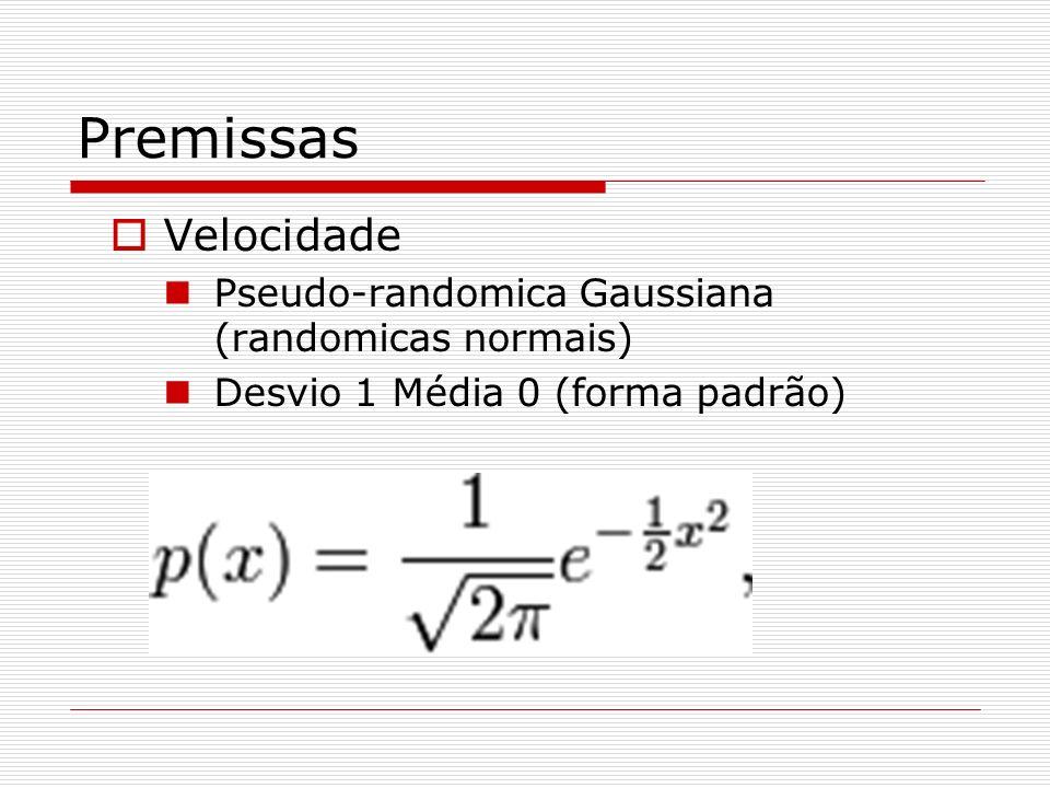 Premissas Velocidade Pseudo-randomica Gaussiana (randomicas normais)