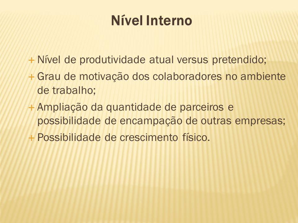 Nível Interno Nível de produtividade atual versus pretendido;