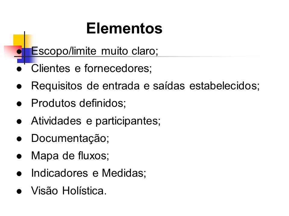 Elementos Escopo/limite muito claro; Clientes e fornecedores;