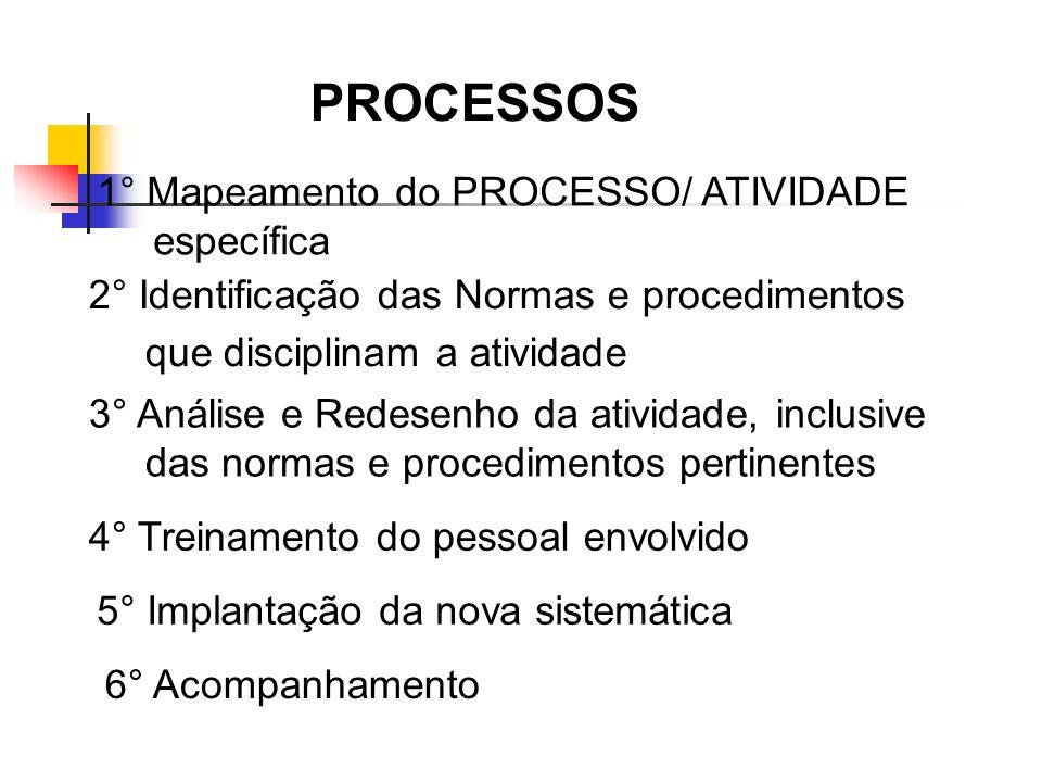 PROCESSOS 1° Mapeamento do PROCESSO/ ATIVIDADE específica