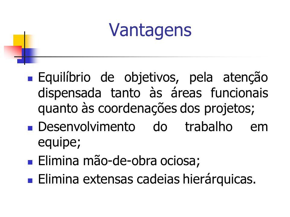 Vantagens Equilíbrio de objetivos, pela atenção dispensada tanto às áreas funcionais quanto às coordenações dos projetos;