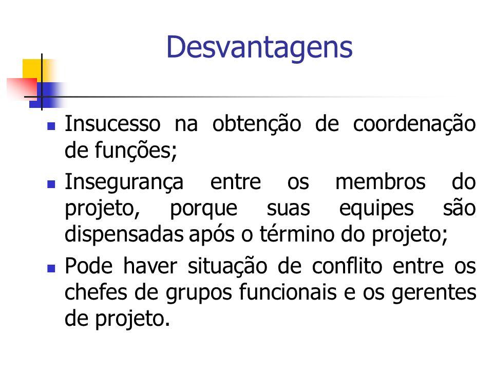 Desvantagens Insucesso na obtenção de coordenação de funções;
