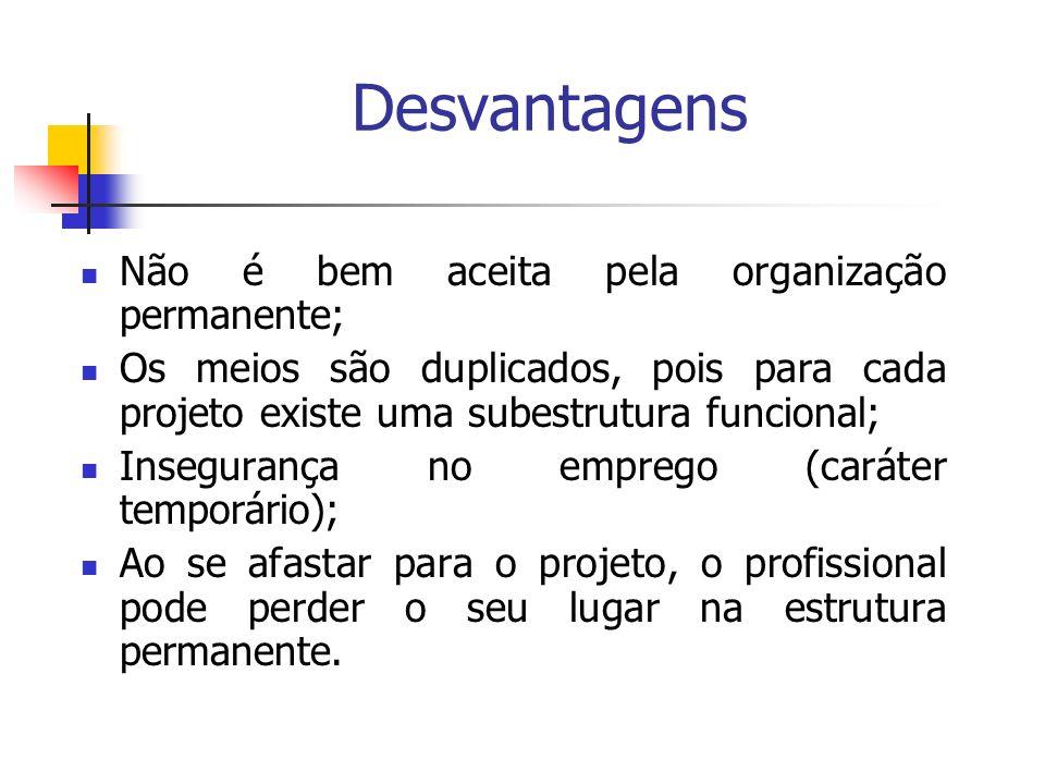Desvantagens Não é bem aceita pela organização permanente;