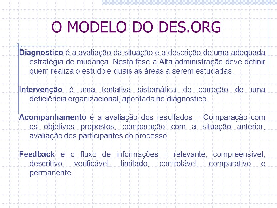 O MODELO DO DES.ORG