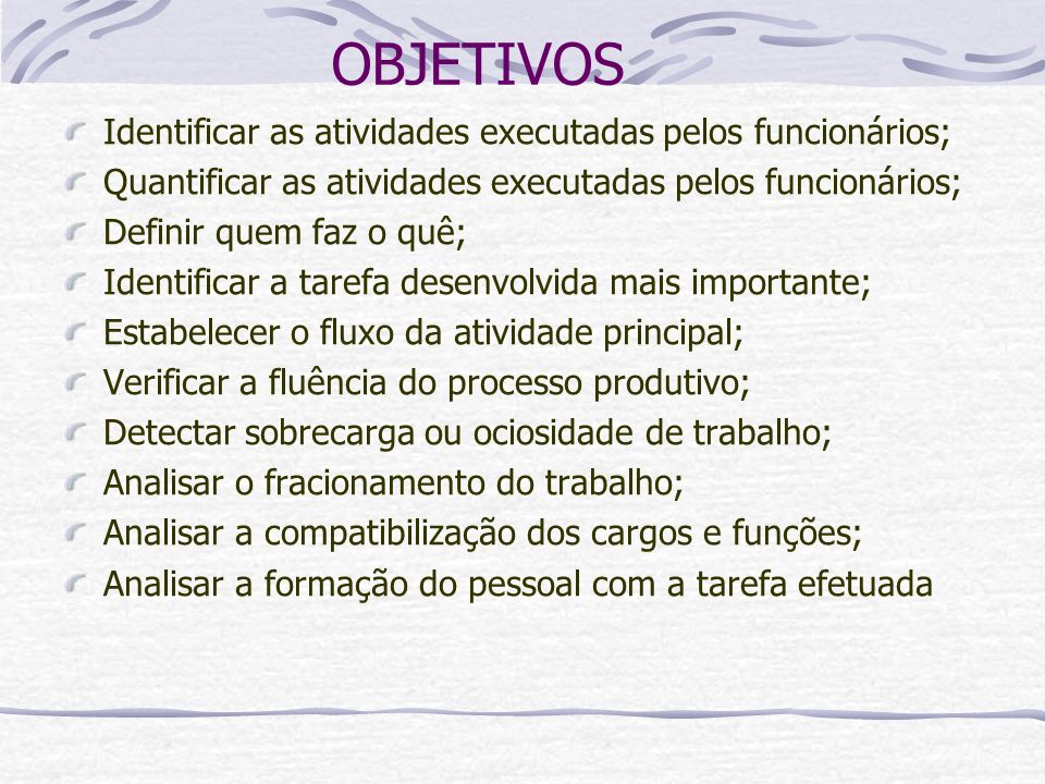 OBJETIVOS Identificar as atividades executadas pelos funcionários;