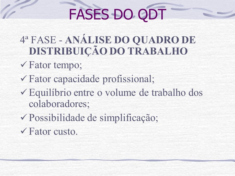 FASES DO QDT 4ª FASE - ANÁLISE DO QUADRO DE DISTRIBUIÇÃO DO TRABALHO