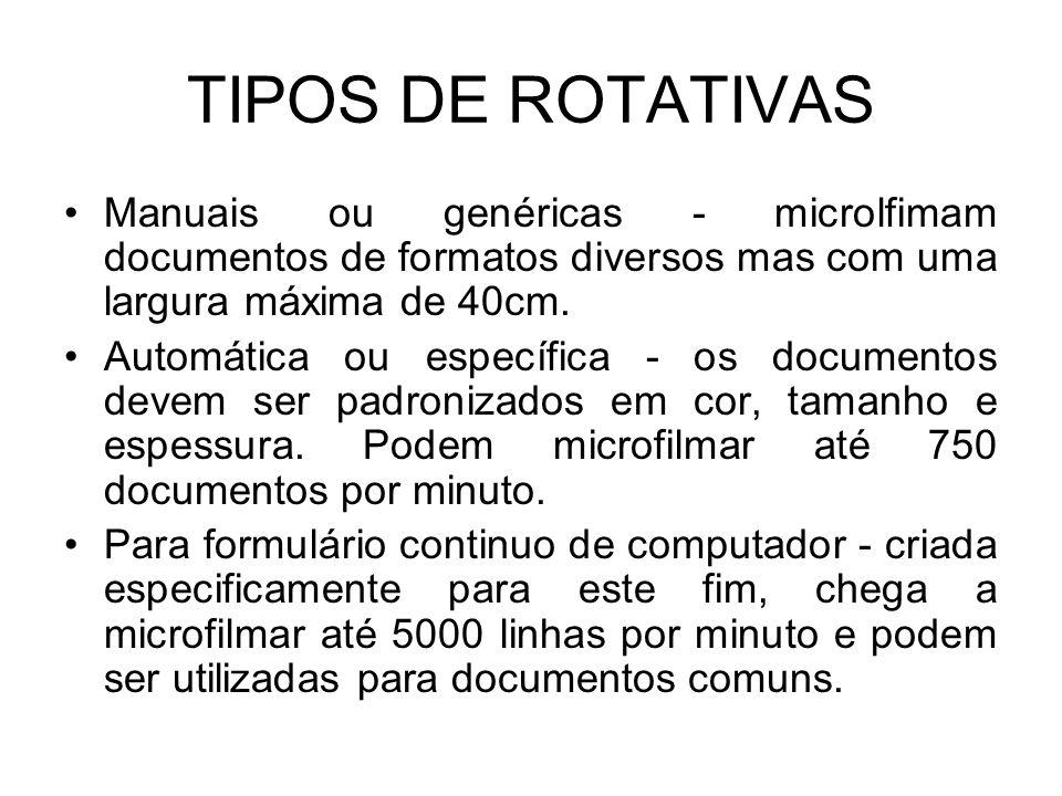 TIPOS DE ROTATIVAS Manuais ou genéricas - microlfimam documentos de formatos diversos mas com uma largura máxima de 40cm.