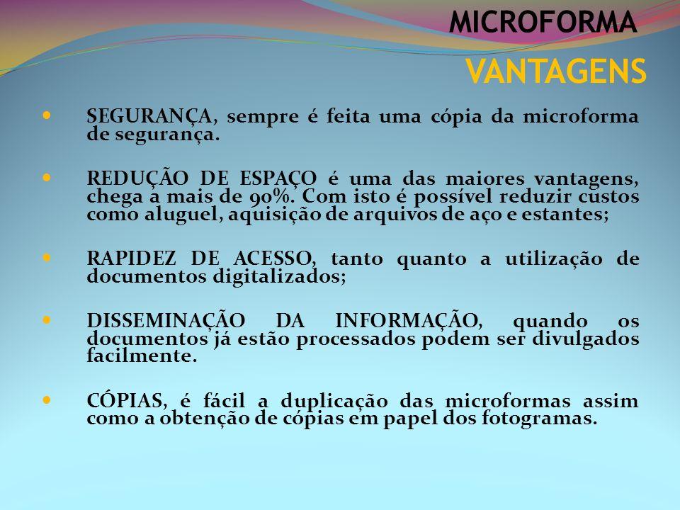 MICROFORMA VANTAGENS. SEGURANÇA, sempre é feita uma cópia da microforma de segurança.