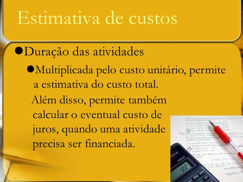 Estimativa de custos Duração das atividades