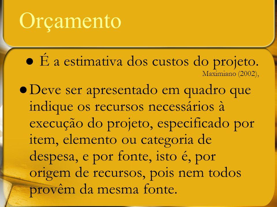 Orçamento É a estimativa dos custos do projeto. Maximiano (2002),