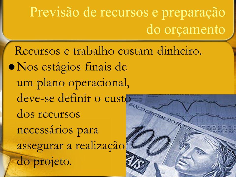 Previsão de recursos e preparação do orçamento