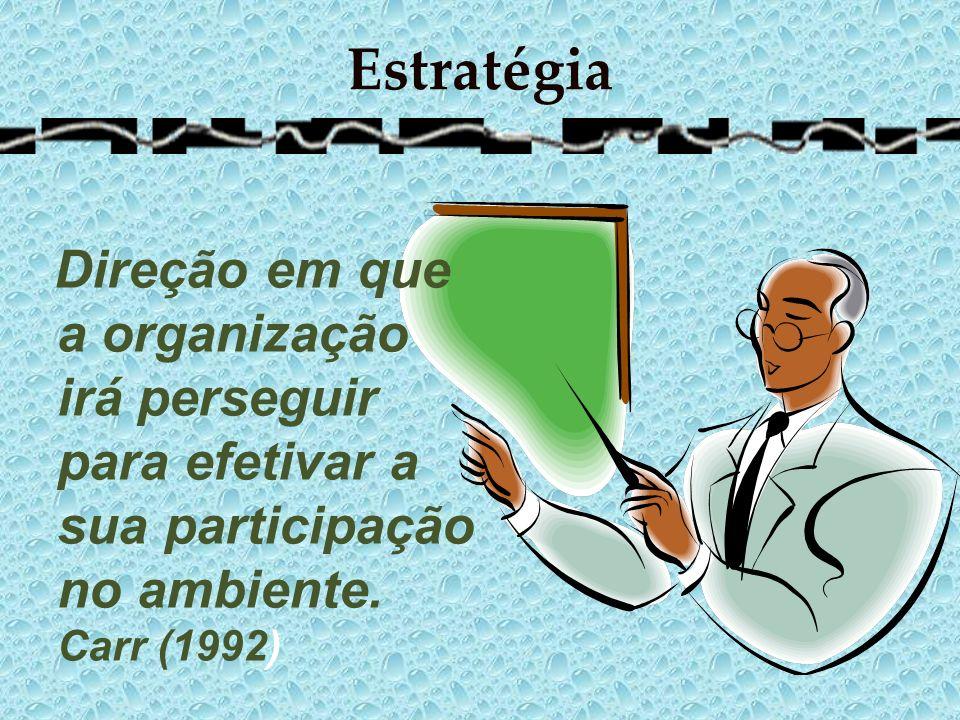 EstratégiaDireção em que a organização irá perseguir para efetivar a sua participação no ambiente.