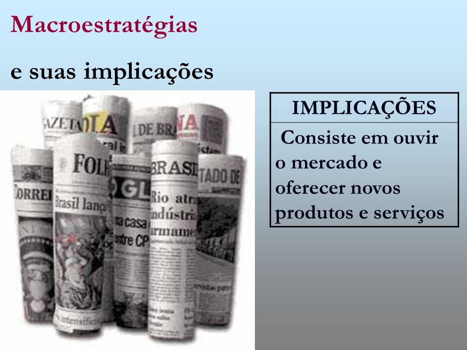 Macroestratégias e suas implicações IMPLICAÇÕES
