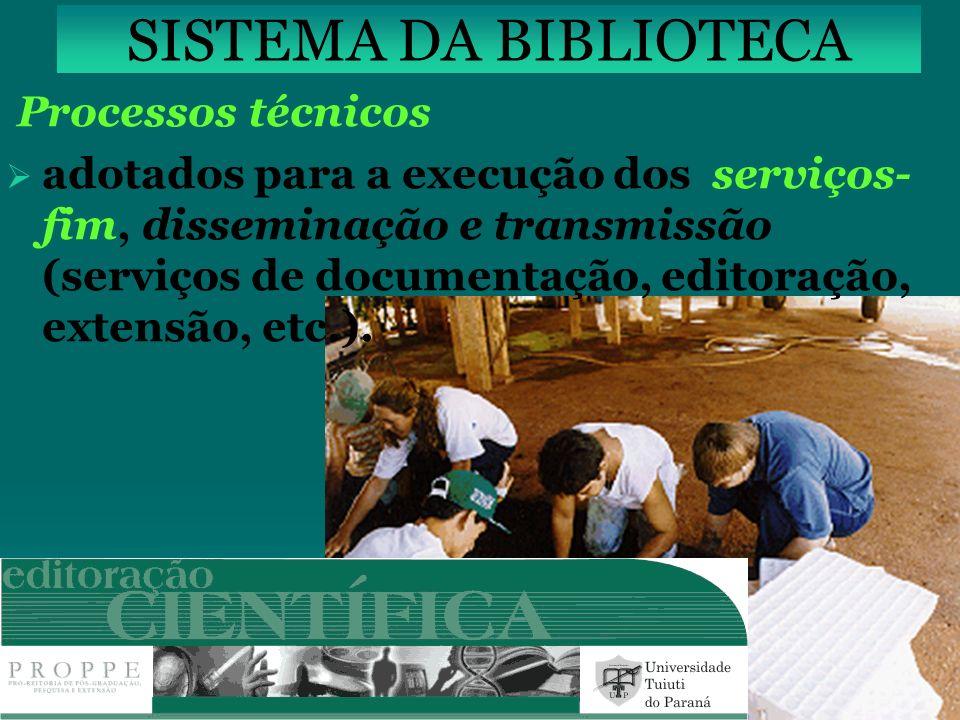 SISTEMA DA BIBLIOTECA Processos técnicos