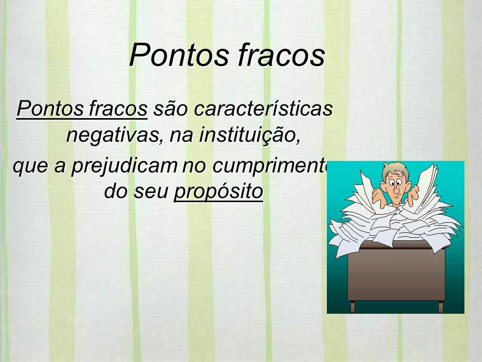 Pontos fracos Pontos fracos são características negativas, na instituição, que a prejudicam no cumprimento do seu propósito.