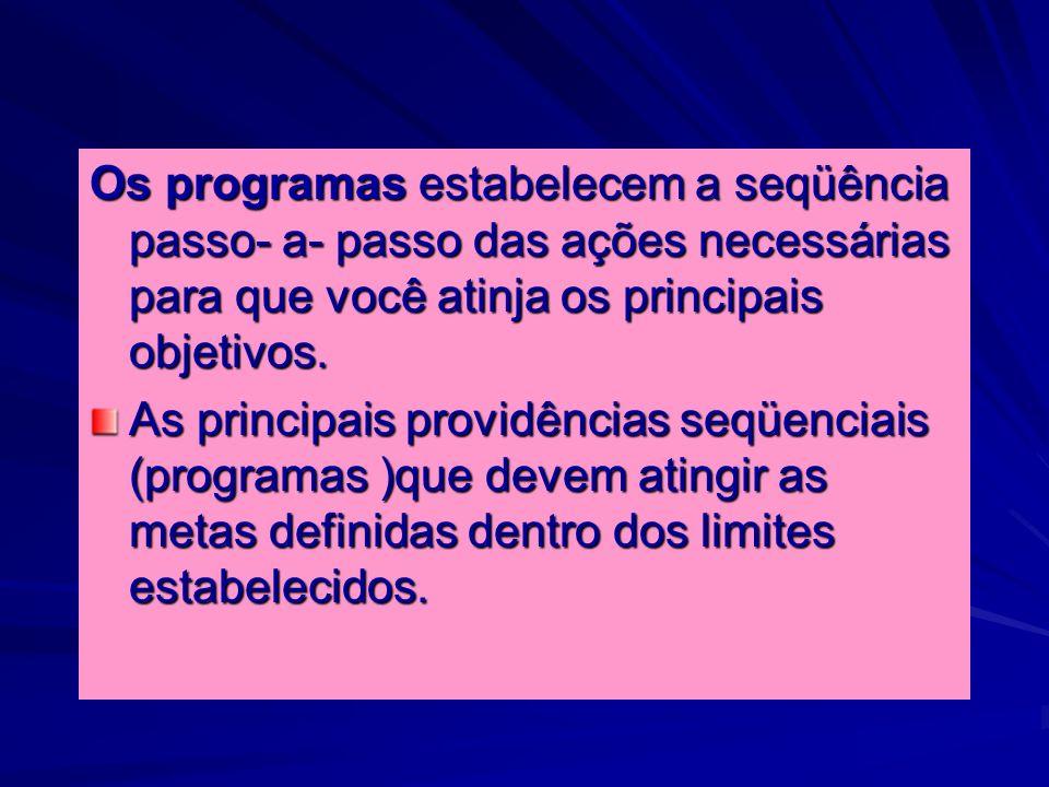 Os programas estabelecem a seqüência passo- a- passo das ações necessárias para que você atinja os principais objetivos.