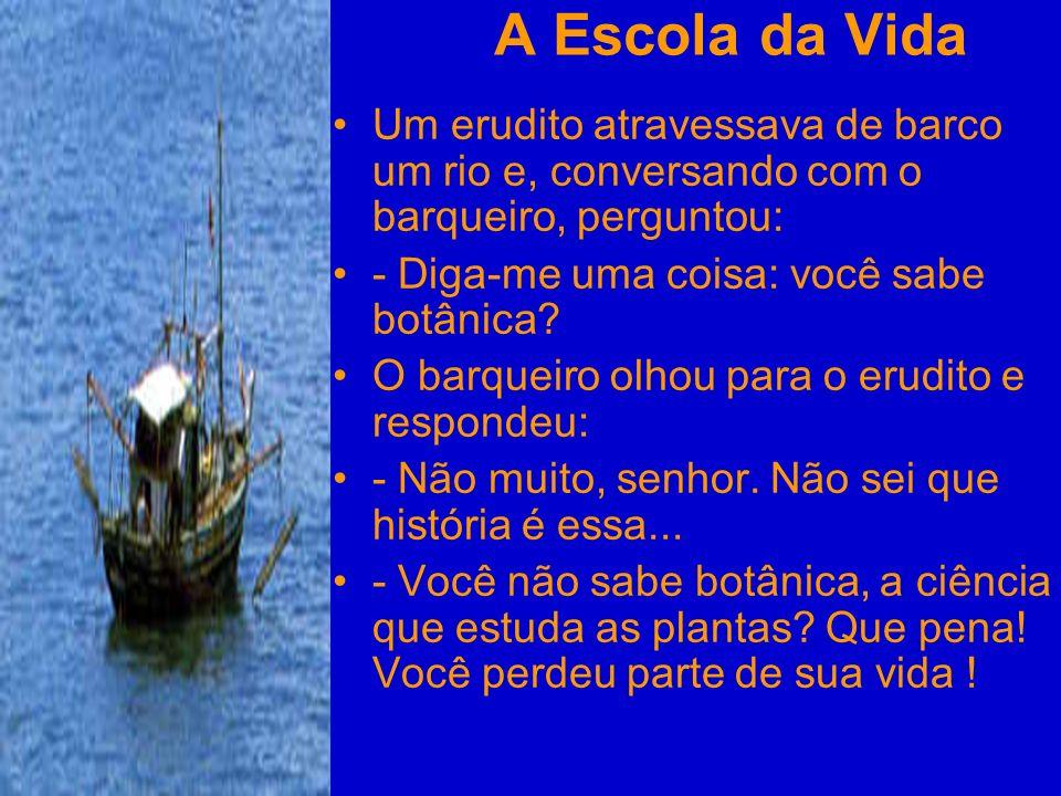 A Escola da Vida Um erudito atravessava de barco um rio e, conversando com o barqueiro, perguntou: - Diga-me uma coisa: você sabe botânica