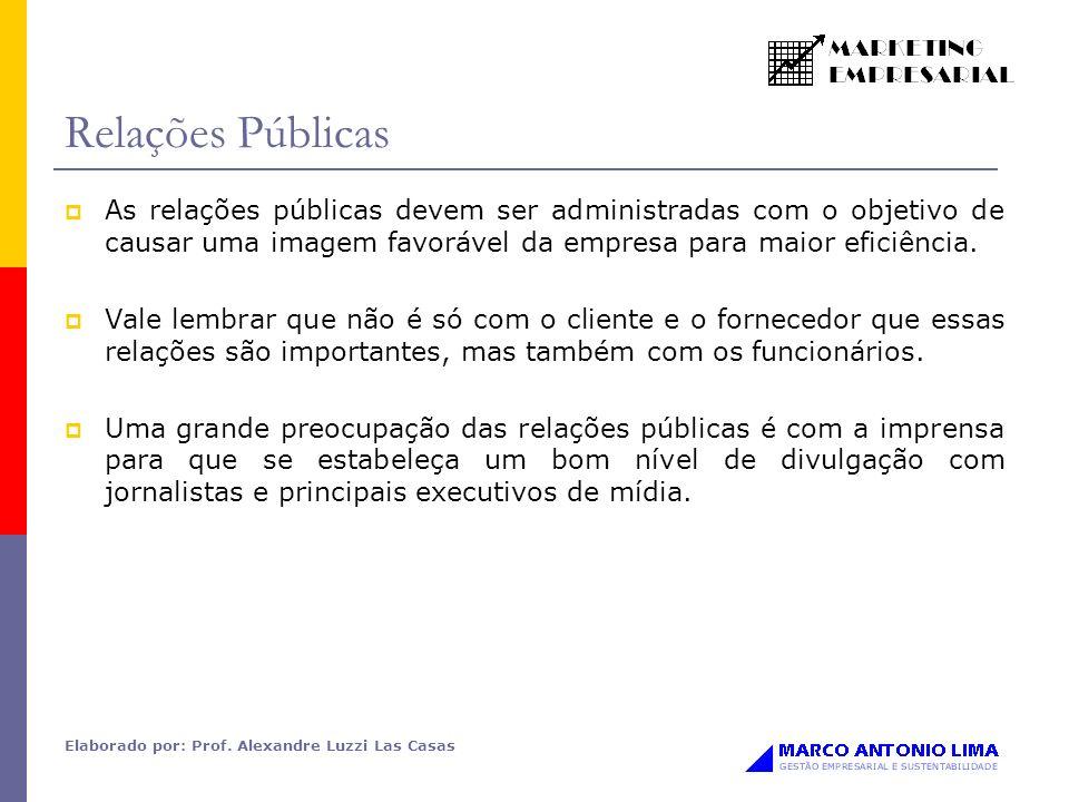 Relações Públicas As relações públicas devem ser administradas com o objetivo de causar uma imagem favorável da empresa para maior eficiência.