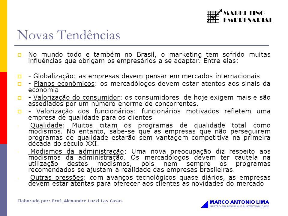 Novas Tendências No mundo todo e também no Brasil, o marketing tem sofrido muitas influências que obrigam os empresários a se adaptar. Entre elas: