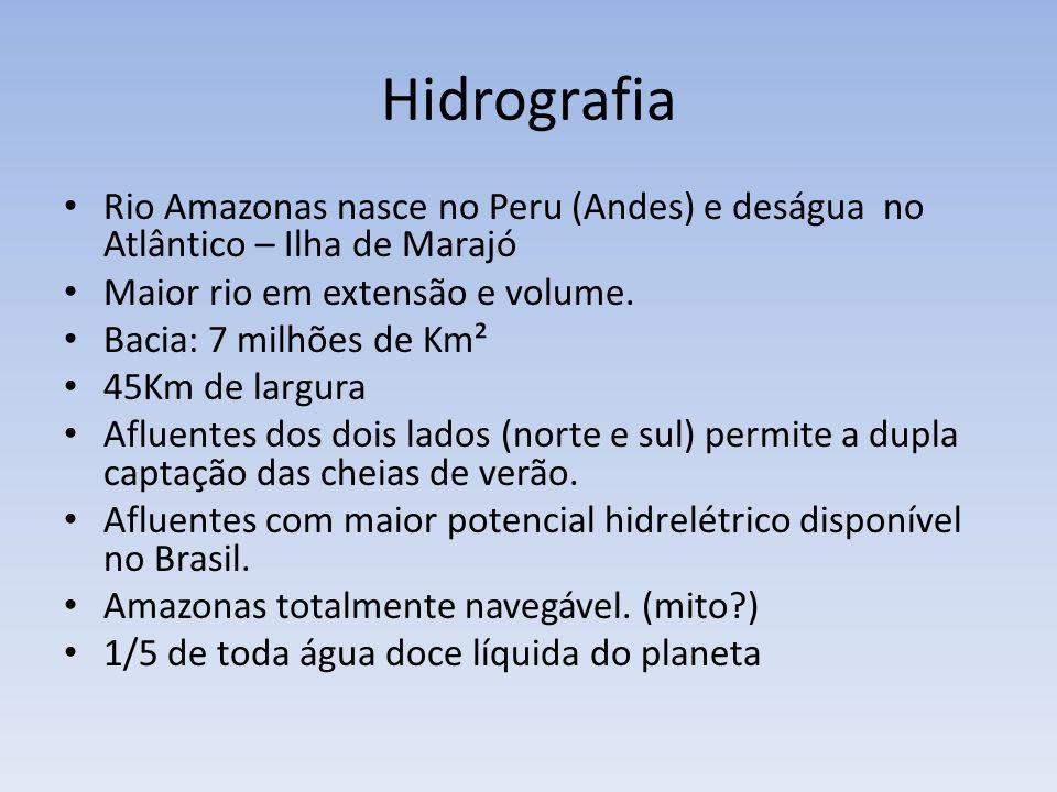 Hidrografia Rio Amazonas nasce no Peru (Andes) e deságua no Atlântico – Ilha de Marajó. Maior rio em extensão e volume.