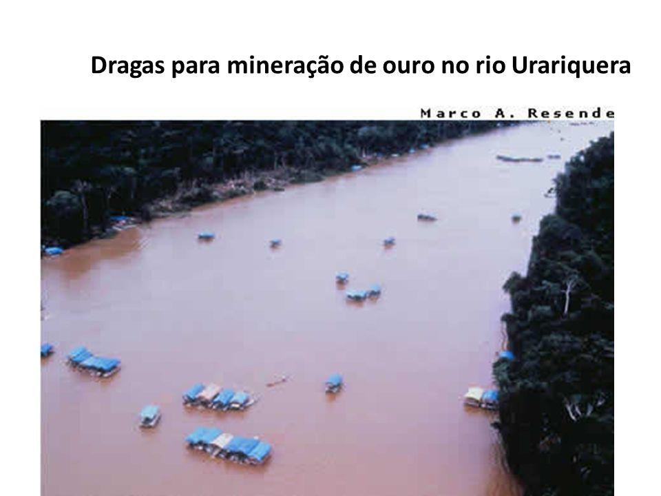 Dragas para mineração de ouro no rio Urariquera