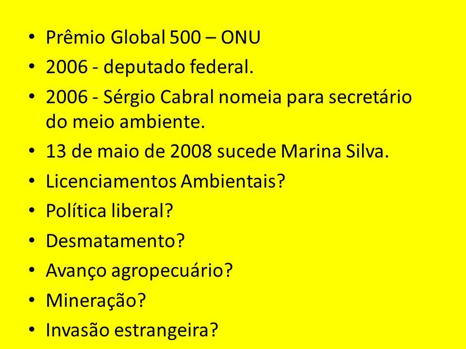 Prêmio Global 500 – ONU 2006 - deputado federal. 2006 - Sérgio Cabral nomeia para secretário do meio ambiente.