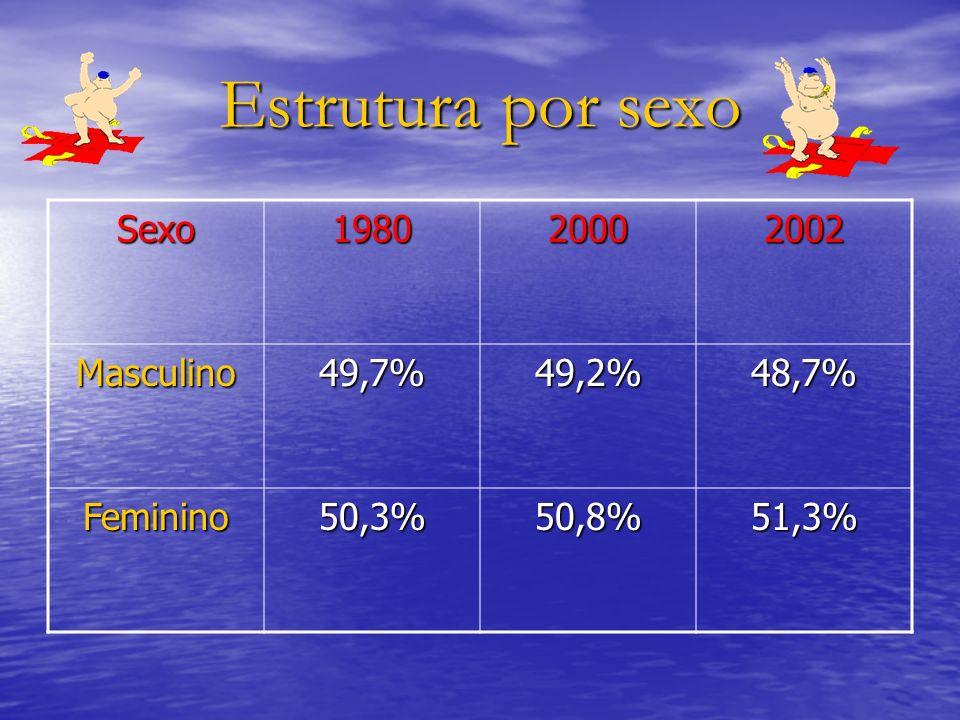 Estrutura por sexo Sexo 1980 2000 2002 Masculino 49,7% 49,2% 48,7%