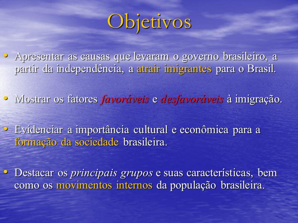 Objetivos Apresentar as causas que levaram o governo brasileiro, a partir da independência, a atrair imigrantes para o Brasil.
