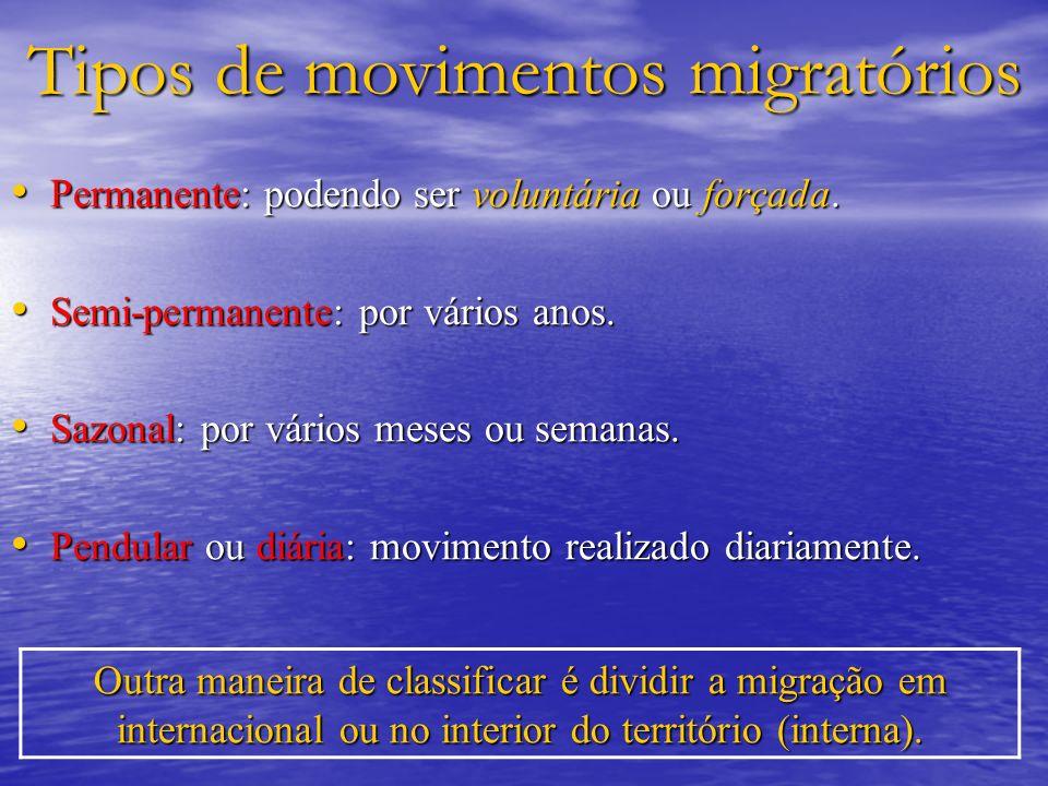 Tipos de movimentos migratórios