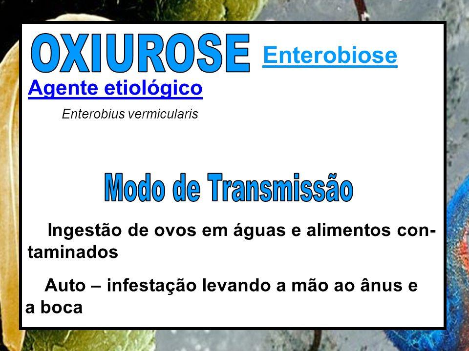OXIUROSE Enterobiose Modo de Transmissão Agente etiológico