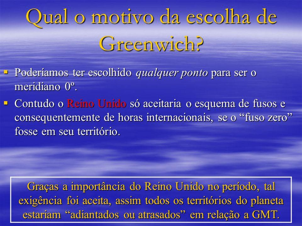 Qual o motivo da escolha de Greenwich