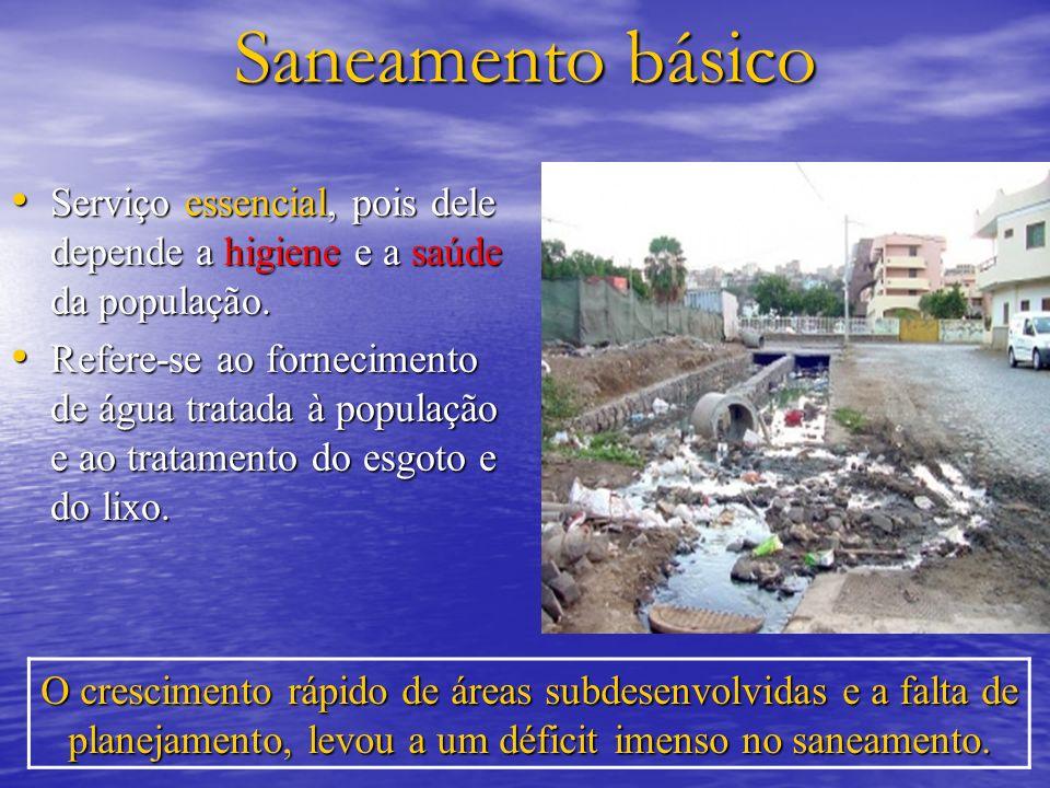 Saneamento básico Serviço essencial, pois dele depende a higiene e a saúde da população.