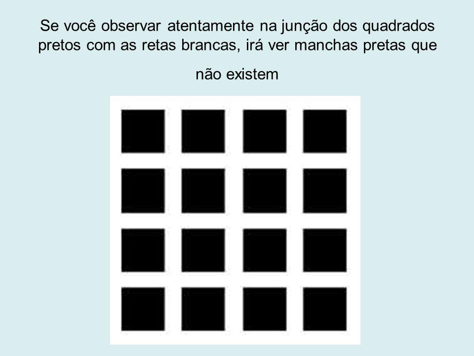Se você observar atentamente na junção dos quadrados pretos com as retas brancas, irá ver manchas pretas que não existem