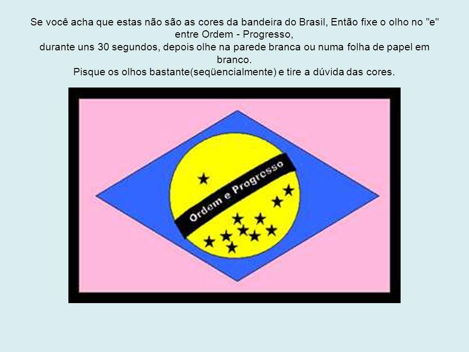 Se você acha que estas não são as cores da bandeira do Brasil, Então fixe o olho no e entre Ordem - Progresso, durante uns 30 segundos, depois olhe na parede branca ou numa folha de papel em branco.
