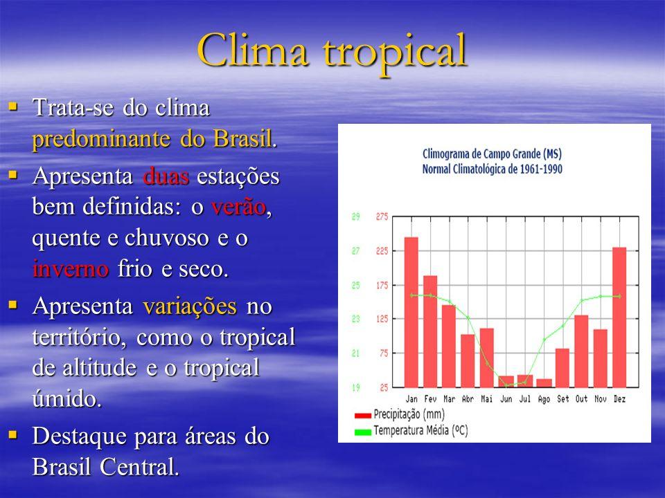 Clima tropical Trata-se do clima predominante do Brasil.