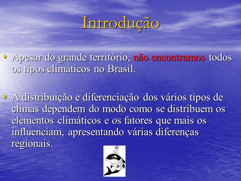 Introdução Apesar do grande território, não encontramos todos os tipos climáticos no Brasil.