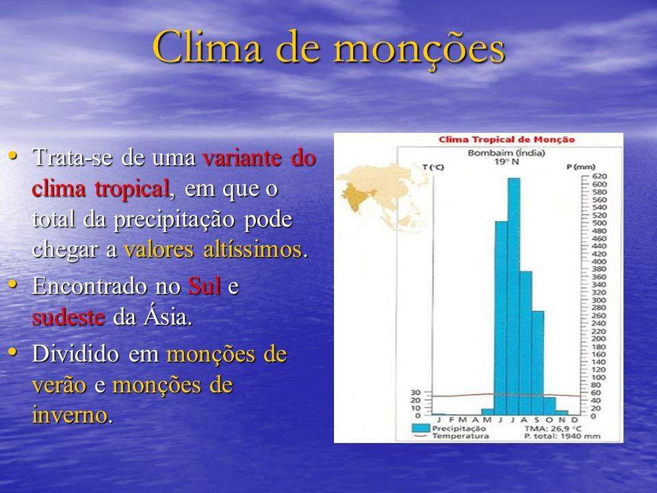 Clima de monções Trata-se de uma variante do clima tropical, em que o total da precipitação pode chegar a valores altíssimos.