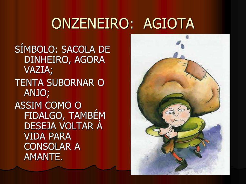 ONZENEIRO: AGIOTA SÍMBOLO: SACOLA DE DINHEIRO, AGORA VAZIA;